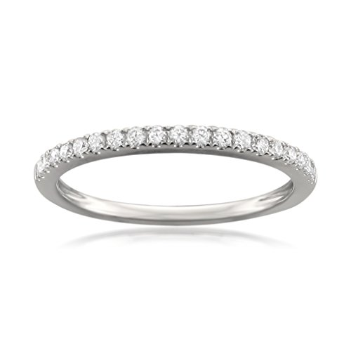 Gold Ring Round Pave (14k White Gold Round Diamond Micro-Pave Wedding Band (1/4cttw, H-I Color, VS2-SI1 Clarity), Size 8)
