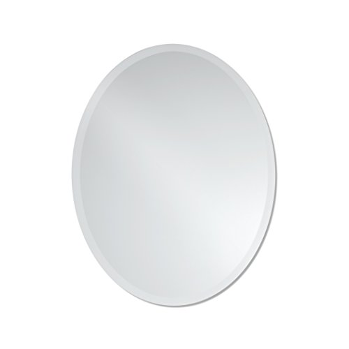 The Better Bevel Frameless Beveled Oval Wall Mirror by 22 x 28 inches