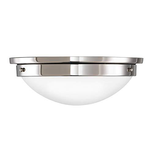 (Feiss FM228BS/PN Gravity Glass Flush Mount Ceiling Lighting, Satin Nickel, 2-Light (13