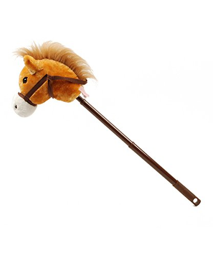 Linzy Hobby Horse, Galloping Sounds with Adjustable Telescopic Stick, Brown -