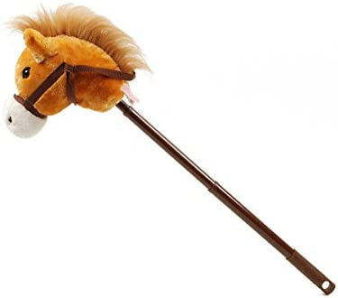 Linzy Hobby Horse, Galloping Sounds with Adjustable Telescopic Stick, Brown 36""