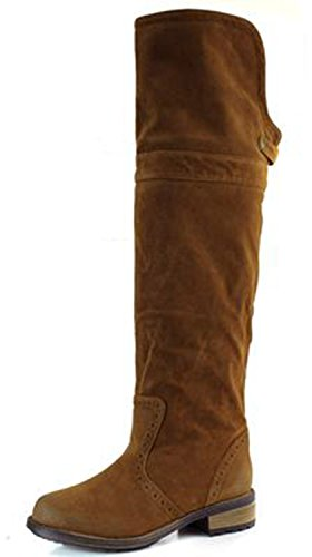 Qupid RELAX-70 Over the Knee Thigh High or Knee High Casual Stacked Heel Cuff Boot ZOOSHOO, Rust Oil Finish,SIZE 7
