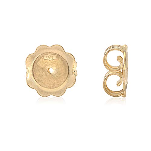 Jumbo Lobe Support Earring Back Replacement Butterfly 18K Solid Yellow Gold Italy - 1 Pair