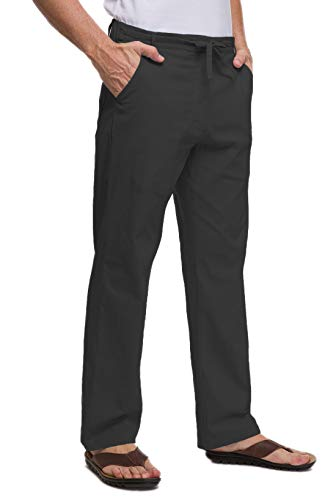 Janmid Men Casual Beach Trousers Linen Summer Pants Black M (Black Linen Pants)