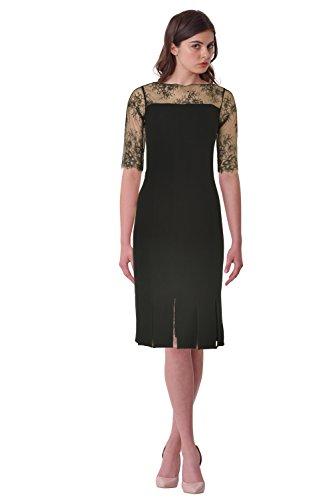 Teri Jon Illusion Lace Bodice Flapper Hem Sheath Cocktail Evening Dress