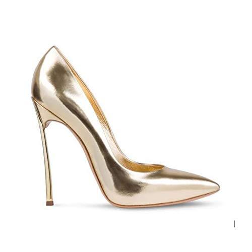 Pointu Soirée Forme Haut En Hauteur De Talons De Bout De De De Femmes Chaussures Métal Aiguilles Pompes Gold Banquet Talon Coussin 12Cm 5q4XYw