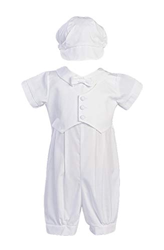 Cotton Poly Romper (Boy's Poly Cotton Christening Baptism Romper with Pique Vest - Size L (012-18 Month))