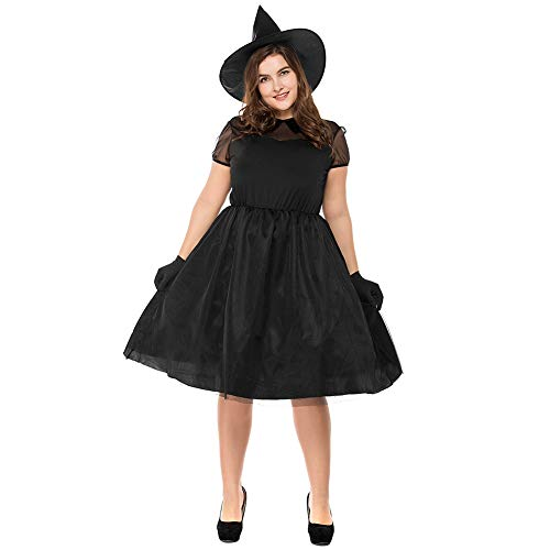 Women's Plus Size Bewitching Witch Costume Black Wicked Lace Sexy Dress with Hats]()