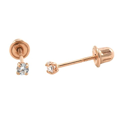 14k Rose Gold Screw Back Safety Pair Earrings Round Cubic Zirconia Sizes 2mm (Rose Screw)