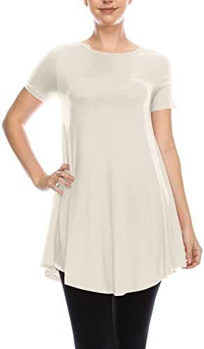 LYCA Women's Short Sleeve Flare Tunic Made in USA