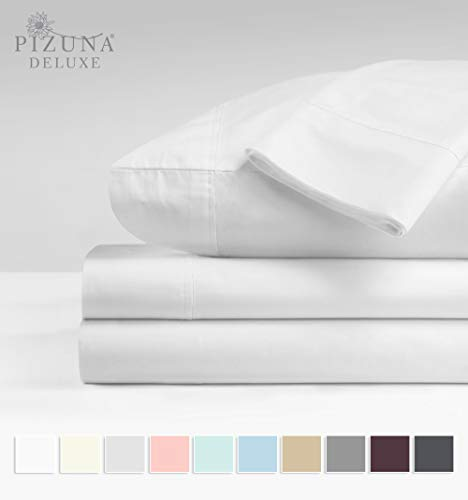 Pizuna Soft 600 Thread Count Cotton White Queen Sheet Set, 100% Long Staple Cotton Smooth & Soft Sateen Bed Sheets Queen with Deep Pockets fit Upto 15 inch (White Queen 100% Cotton Sheets)