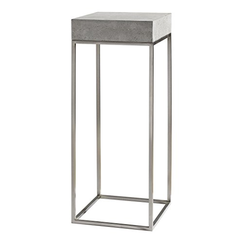 Uttermost 24806 Jude Industrial Modern Concrete and Stainless Steel Pedestal For Sale