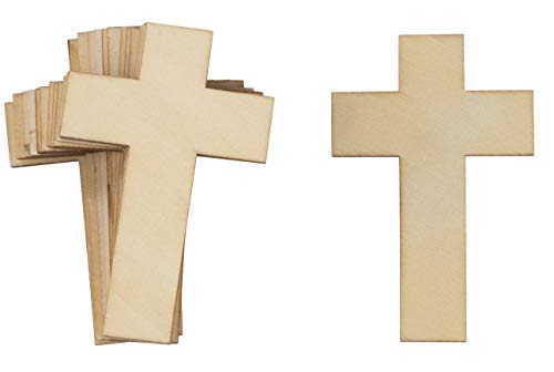 Unfinished Wood Cutout - 50-Pack Cross Cutout, Unfinished Wooden Cross for DIY Craft Projects, Sunday School, Church, Home Decoration, 4.1 x 2.6 x 0.1 inches