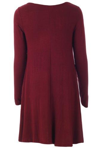 Fashion 4Less Vestido sencillo para mujer, manga larga Wine
