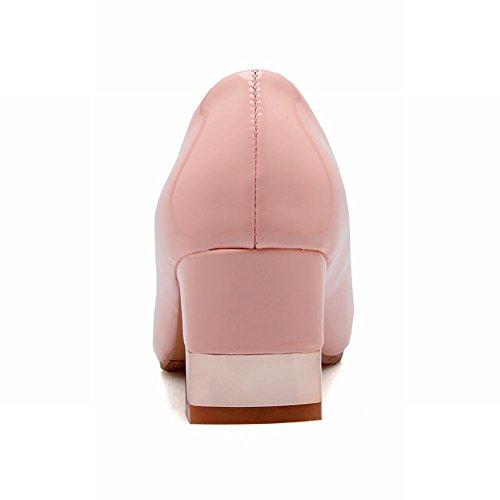 Carolbar Mode Femmes Doux Strass En Cuir Verni Grâce Chunky Mi-talon Robe Pompes Chaussures Rose