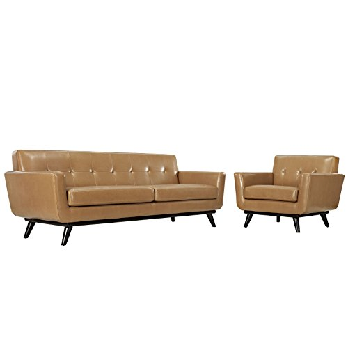 Modway Engage Mid-Century Modern Upholstered Leather Sofa and Armchair Living Room Set in Tan