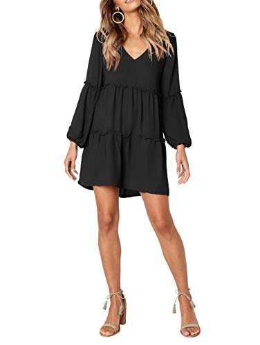 Swing Tengo Short Dress Tunic Shift V Ruffle Dresses Casual Women's Long Black Neck Loose Sleeve RRv7r