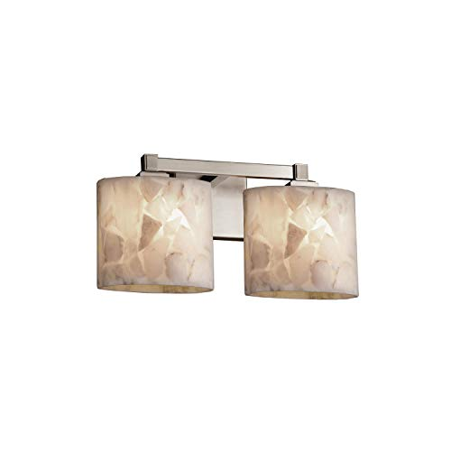 Justice Design Group Lighting ALR-8432-30-NCKL-LED2-1400 Regency 2-Light Bath Bar-Oval Shade-Alabaster Rocks-LED, Brushed Nickel ()