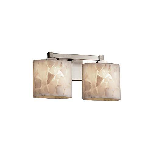 Justice Design Group Lighting ALR-8432-30-NCKL Justice Design Group - Alabaster Rocks! - Regency 2-Light Bath bar - Oval - Brushed Nickel Finish with Alabaster Rocks Shade,