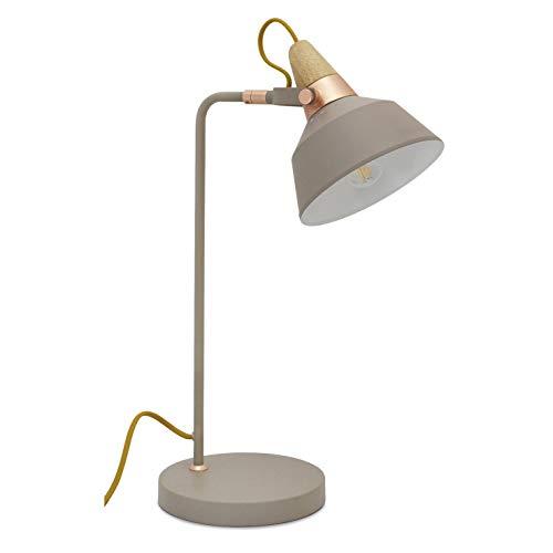 EXO Lighting – CLOÉ tafellamp steen grijs lampfitting E14 binnen IP20 tafellamp of bureaulamp ideaal voor slaapkamer en…