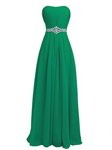 JAEDEN Sin tirantes Gasa Vestidos de dama de honor Largo Vestidos de baile Vestido de fiesta Verde oscuro