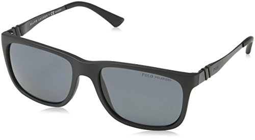 Polo Ralph Lauren Men's 0ph4088 Polarized Rectangular Sunglasses, matte black, 55.3 mm ()