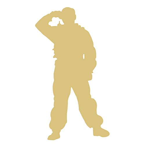 (Army Soldier Cutout Unfinished Wood Warrior GI Fighter Infantry Military Proud MDF Shape Canvas Style 2)