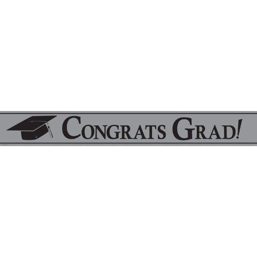 Creative Converting Paper Art Foil Banner, 24 by 5-Inch, Congrats Grad, Silver