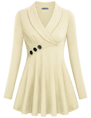 omen,Fall Winter Clothing Trendy Dressy Lapel Collar V Neck Long Sleeve Work Shirts Ladies Office Career Solid Empire Line Button Trim Misses Blouses and Tops Beige X-Large ()