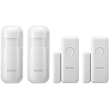 DIGOO DG-HOSA 433MHz Burglar Alarm Sensor, Wireless Windows Doors Sensor and Infrared PIR Motion Detector, Work with Any 433MHz Home Security Alarm System ...
