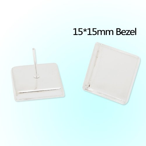 Bezel Square Earrings - 2