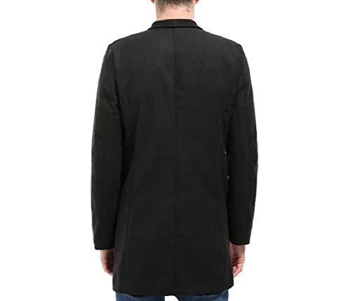 Down Double Men's Energy Coat Woolen Collar Turn Length Black Solid Mid Breasted Overcoat wYIwTHqAx
