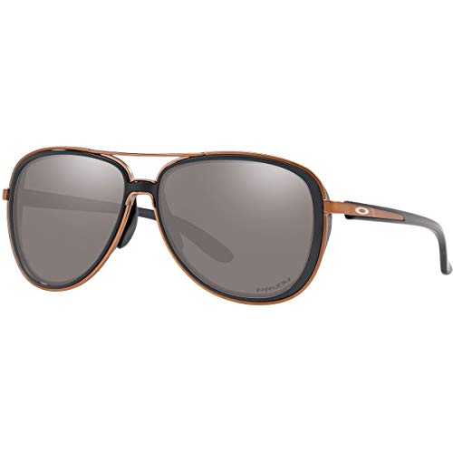 Oakley Women's OO4129 Split Time Aviator Metal Sunglasses, Black Ink/Prizm Black, 58 mm