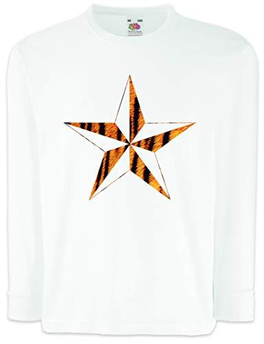 Tattoo Tiger Nautical Star Kids Boys Girls Long Sleeve T-Shirt Leo Leopard Fell Fur Rockabella Pin Up Tattoo White