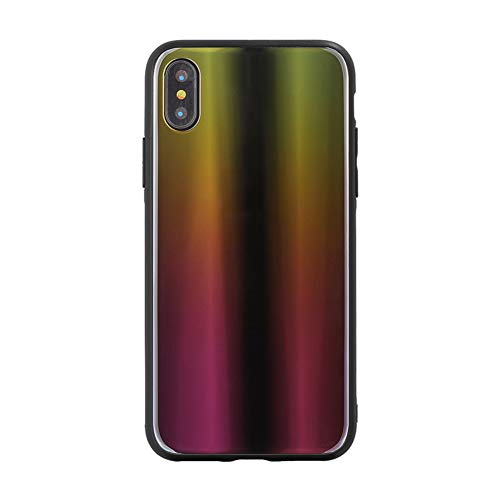 JINRU iPhone Xs Case, for Iphonexs/XR/XS MAX,Gradient Aurora, Explosion-Proof Tempered Glass, Electroplated Magic Mirror Cover,A,XR
