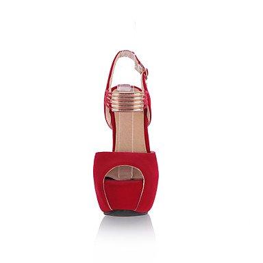 LvYuan Mujer-Tacón Robusto-Zapatos del club-Sandalias-Oficina y Trabajo Vestido Fiesta y Noche-Vellón-Negro Rojo Black