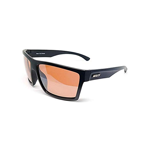 6ff46dbfd09f0 Maxx 1 Sport Golf Riding Driving Sunglasses Black Frame with Amber Lens