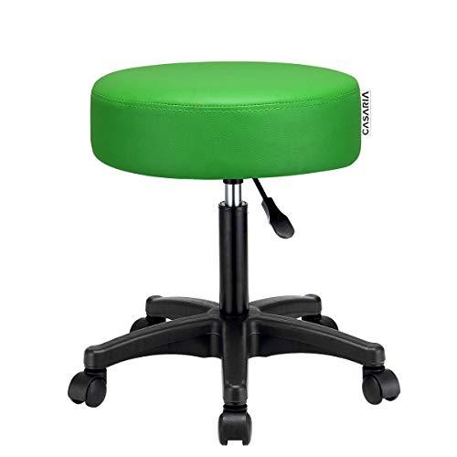 Deuba Taburete giratorio silla de trabajo 52 x 52 cm Altura regulable 42-56 cm cuero artificial verde asiento acolchado