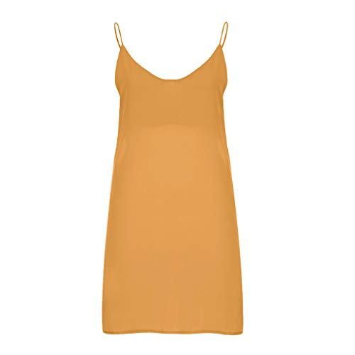 Sumeimiya Womens Sling Color Dress, Summer Solid Color Sleeveless Dress Fashion New Spaghetti Strap Dress Yellow