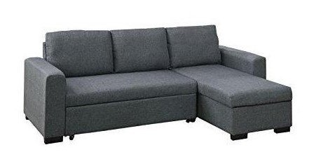 Poundex F6931 Bobkona Jassi Linen-Like Sectional with Pull-Out Bed and Compartment, Blue Grey