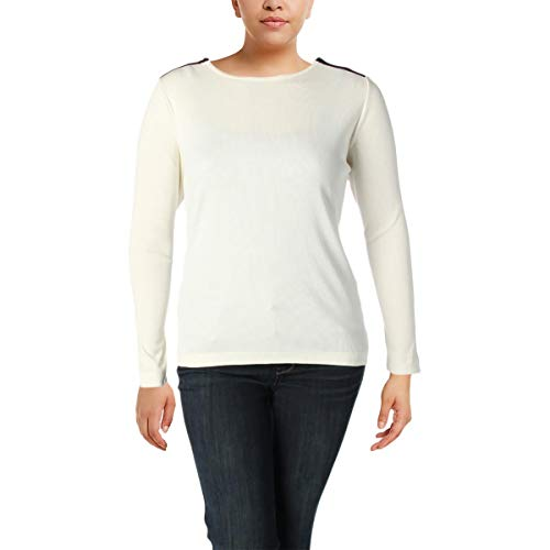 Lauren Ralph Lauren Womens Plus Casual Rib Knit Knit Top Ivory 2X by Lauren by Ralph Lauren