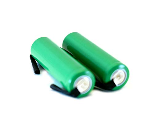Combo: 2 Pcs - NiMh 1.2V AA 1650/1700 mAh Shaver battery with solder tabs for Braun, Norelco, Remington shaver models ()