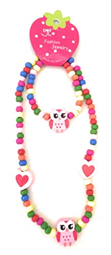 Spinnaker Collection Kids Wooden Owl Necklace and Bracelet Set - Elastic 15 inches- Girls Love Bead Accessories - Play Jewelry (Pink)