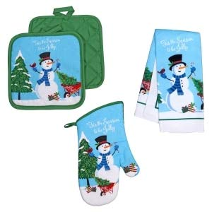 Christmas House Snowman 5 piece Kitchen Towel Set, oven mitt, 2 potholders, 2 towels, Tis the Season to be Jolly