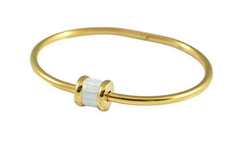 Christian Dior White Bracelet - Gold-Tone with White Stone Stainless Steel Bangle Bracelet Women 2.2'' x 1.6'' Small/Medium