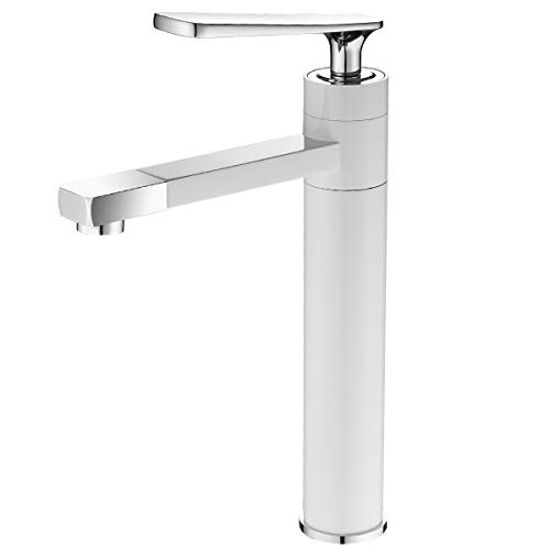 Freedom ABC Single Handle Bathroom Faucet Washbasin Lavatory Vanity Vessel Tap Contemporary Deck Mount Spout Sink Faucet Deck Mount White Brass Body Chrome Finish Motorhome RV Travel Trailers Campers
