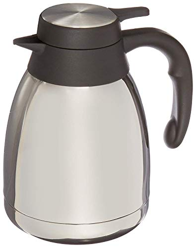 Genuine Joe GJO11952 Stainless Steel, Mirror-Finish Classic Vacuum-Insulated Carafe with Thumb Lever Lid, 1.2L Capacity, Steel/Gray (4-Units)