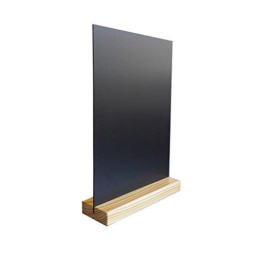 Lot de 2 Porte menu de table en bois couleur pin naturel dimensions 21 x 6,5 x 2,4 cm avec ardoise A4
