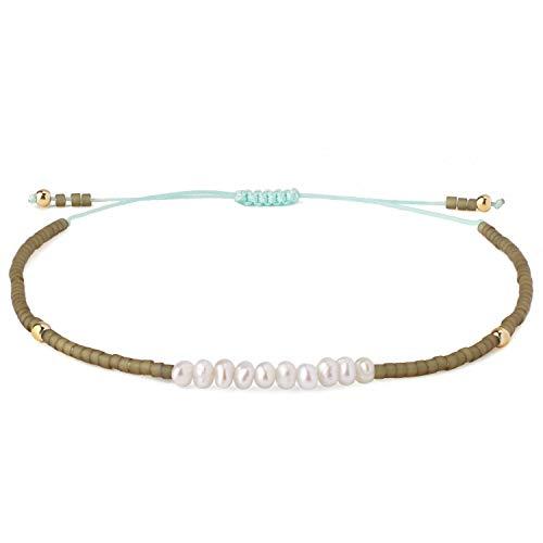 KELITCH Shell Pearls Beaded Strand Bracelets Handwoven Friendship Seed Beads String Charm Bracelet Fashion Jewelry for Girls(Gray Green S)