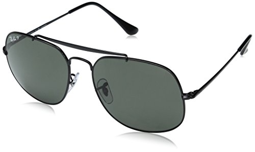 Ray-Ban RB3561 The General Square Sunglasses, Black/Polarized Green, 57 mm (Best Price Ray Ban Sunglasses)